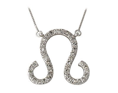 .40ctw Diamond Leo Zodiac Pendant 14K White Gold