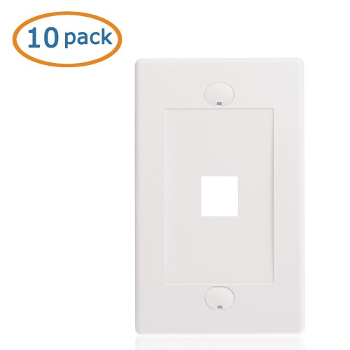 Cable Matters (10 Pack) Wall Plate with 1-Port Keystone Jack Insert in White (Cable Jack Insert compare prices)
