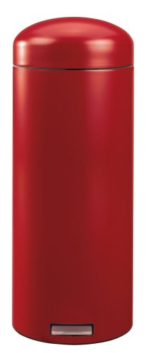 Brabantia Retro Pedal Bin with Plastic Bucket, 30 Litre, Deep Red