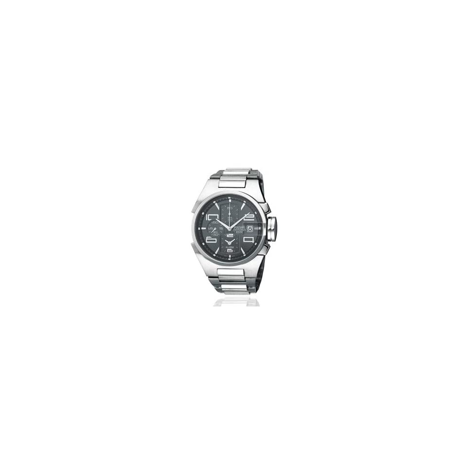 Pulsar Mens Chronograph Alarm Watch   Silver Tone Stainless Steel Case & Bracelet, Black Dial PF3709