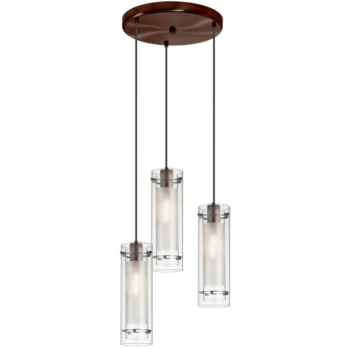 Dainolite 12153R-CF-OBB 3-Light Pendant-Round Canopy, Clear Glass/Frosted Insert, Oil Brushed Bronze