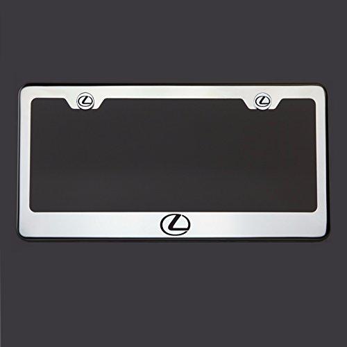 Black Lettering Laser Engraved Mirror Polish Stainless Steel Lexus Logo License Plate Frame Holder Front Or Rear Bracket Steel Chrome Screw Cap (Lexus Rx300 License Plate Bracket compare prices)