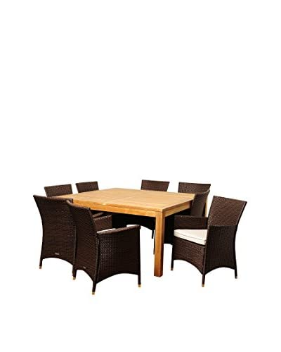 Amazonia Teak San Jose 9-Piece Wicker Square Dining Set with Off-White Cushions, Brown