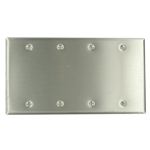 Leviton 84064-40 4-Gang No Device Blank Wallplate, Standard Size, Box Mount, Stainless Steel