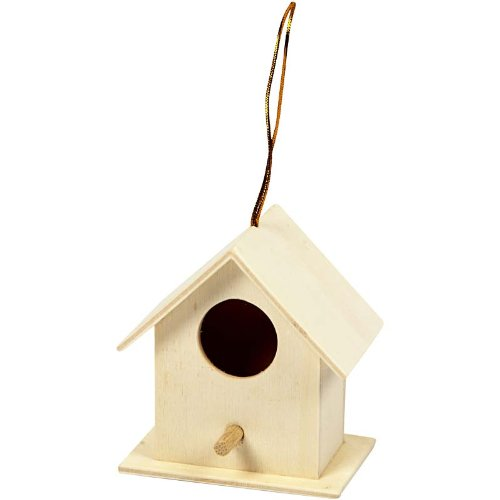 Creativ 1-Piece Wooden Mini Square Bird House Poplar
