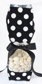 Black with White Polka Dots Tall Cellophane Goodie Bag (2in. W x 9 1/2in. H x 1 7/8in. Deep) - pack of 10