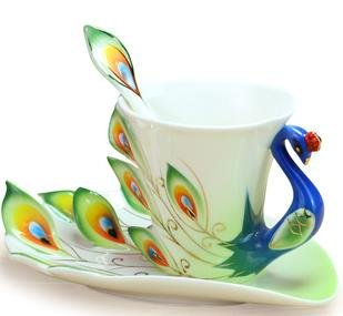 Collectable Fine Arts China Porcelain Tea Cup And Saucer Coffee Cup Peacock Theme Romantic Creative Present For Wedding/Christmas Three Sets (Green)