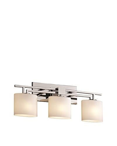 Justice Design Group Aero 3-Light Bath Bar, Polished Chrome/Opal