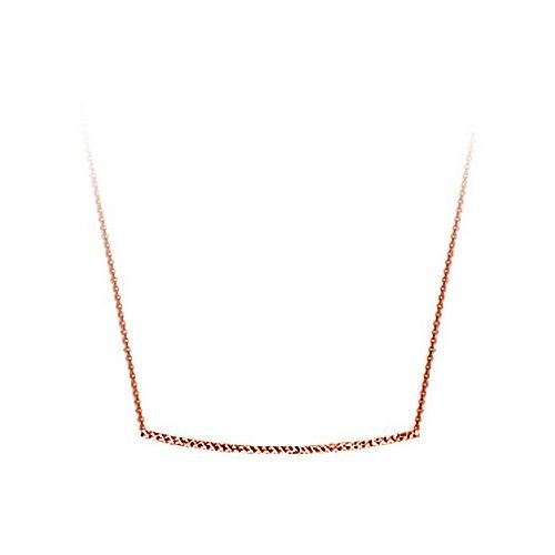 14Kt Rose Gold Diamond Cut Bar Necklace Adjustable