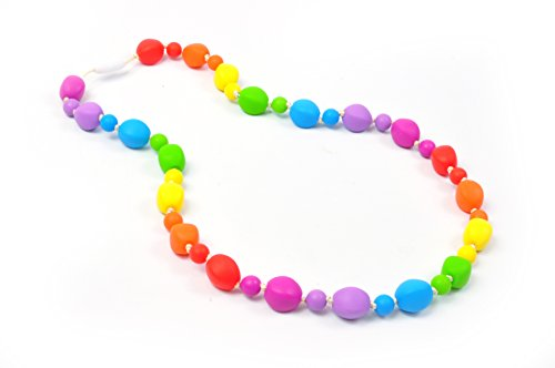 Bitey Beads Silicone Teething Nursing Necklace Multi Color (Rainbow)