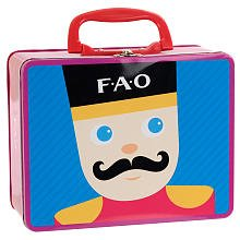 1 X ONE FAO Schwarz Keepsake Metal Lunch Box for Little Ones with Toy Soldier on Front and Teddy Bear on Back