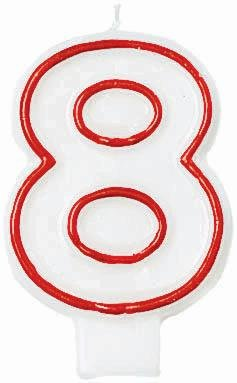 "Amscan Numerical Celebration Candle - Number Eight #8, White/Red, 3"" - 1"