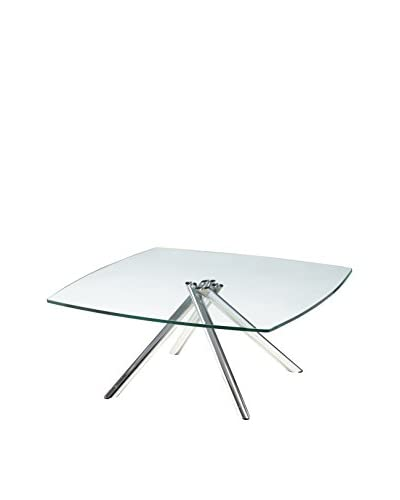 Furniture Contempo Axel Coffee Table, Chrome/Clear
