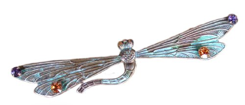 Verdigris Patina Solid Brass Decorative Dragonfly Pin - Swarovski Crystals