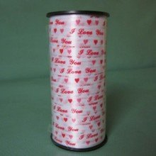 """""""I Love You"""" Red Color Curling Ribbon for Wedding Party 100 Yards"""