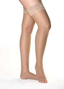 AW Style 48 Firm Support Open Toe Sheer Thigh High w Stay Up Lace Band 20-30mmHg
