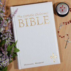 White Personalized Children's Catholic Bible