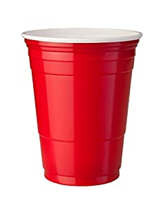 American-Style Large RED Plastic Cups 500 ml Red - Pack of 50