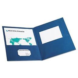 Rapid - Twin-Pocket Portfolio, Embossed Leather Grain Paper, Blue, 25/Box