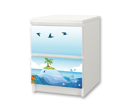 Underwater World Sticker-Set for Nursery Chest of Drawers / Bedside Cabinet MALM from IKEA - NS38
