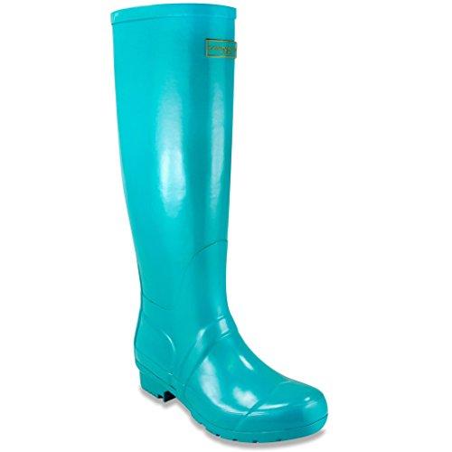 London Fog Womens Thames Rain Boot Turquoise 8 M US (Rain Boots Blue compare prices)