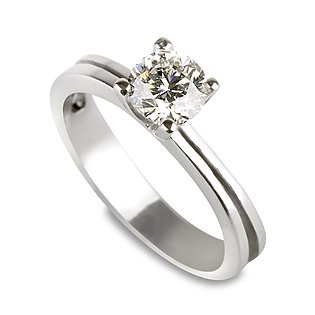 18K Gold / White 0.25ct Certified Diamond Engagement Ring Round Cut D Color I1 Clarity