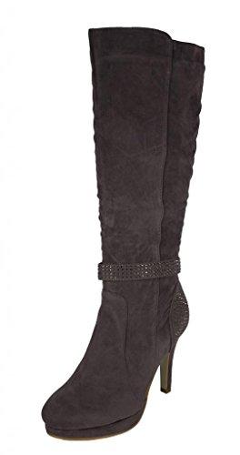 Rck Bella Women'S Greta-5 Knee High Rhinestone Studded Strap Platform High Heel Boot, Grey Faux Suede, 8 M Us