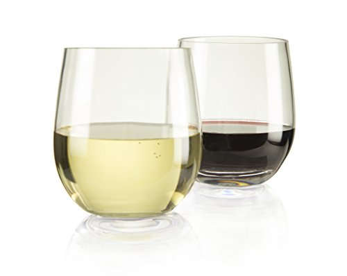 """Game Changer"" Unbreakable Stemless Wine Glasses, Heavy-Gauge Tritan, Spill-Resistant, Indoor/Outdoor Plastic Glasses,Thicker - Stronger - Better Balanced! 100% Dishwasher-Safe, 13 Ounce - Set Of 4"