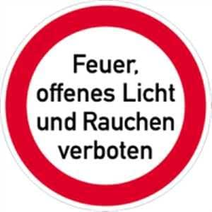 schild feuer offenes licht rauchen verboten 20cm alu baumarkt. Black Bedroom Furniture Sets. Home Design Ideas