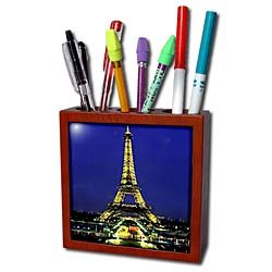 Vacation Spots - Eiffel Tower - Tile Pen Holders-5 inch tile pen holder
