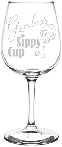 (Grandma) Funny Sippy Cup Novelty Present & Gift Idea Inspired - Laser Engraved 12.75oz Libbey All-Purpose Wine Taster Glass