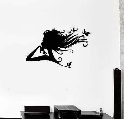 Vinyl Decal Pretty Butterfly Woman Beauty Salon Hair Style Wall Stickers 104ig