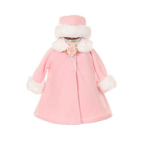 Kids Dream Pink Fleece Faux Fur Collar Stylish Coat Baby Girl 6M