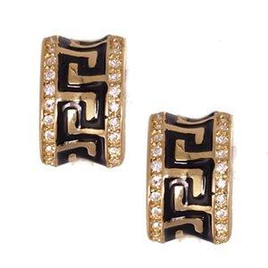 Shia Black/Gold Clip On Earrings