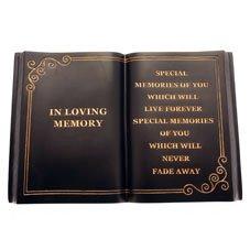 In Loving Memory - Open Book Memorial Plaque - Black