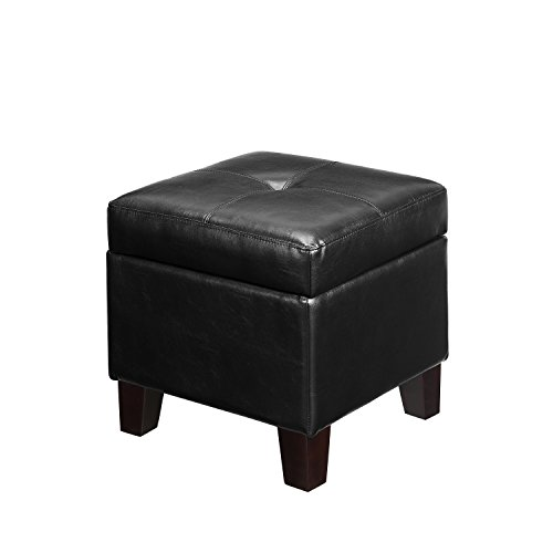 Dorel Asia Hadfield Cube Faux Leather Storage Ottoman, Black