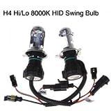 Durable 35W H4 Hi/Lo 8000K HID Swing Bulb (2 PCS)