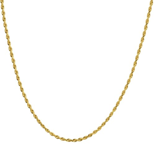 Duragold 14k Yellow Gold Solid Diamond-Cut Rope Chain Necklace (2.5mm), 24""