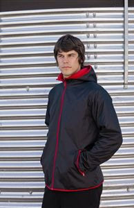 Finden & Hales LV640 Mens Rip Stop Nylon Jacket With Microfleece Linin Black/Red L