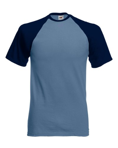 Fruit of the Loom SS008M, T-Shirt Uomo, Blue (Steel Blue/Deep Navy), XX-Large
