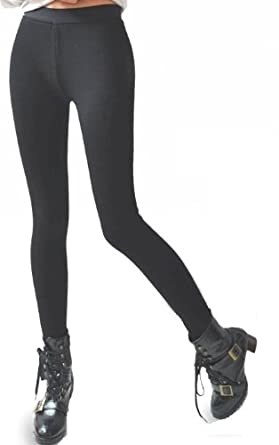 Women's Very Thick Winter Pants Footless Stretchy Leggings Black (S/M-Deluxe)