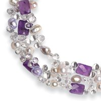 Amethyst Clear Acrylic Beads Pearl Necklace - 16 Inch - Toggle - JewelryWeb