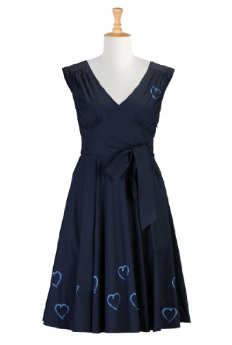 eShakti Women's Blue hearts poplin dress L-12 Regular Navy blue