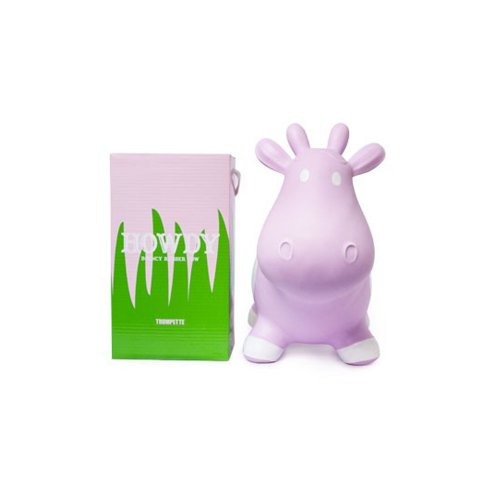Trumpette Howdy Rubber Bouncy Cow, Light Pink - 1