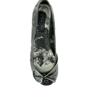 Iron Fist RUFF RIDER New Black Flat Shoes Zip Bow Rock - UK 5