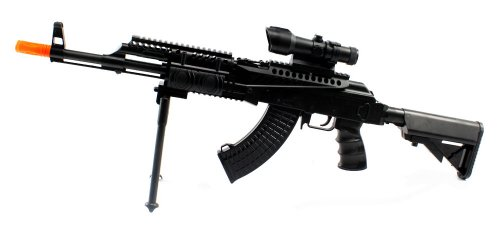 Spring Powered FPS-300 AK-47L RIS Assault Rifle Airsoft Gun with Bi-Pod Airsoft Rifle