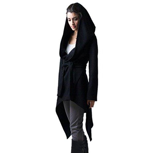 """Elegante Moda Giacche , Reasoncool Lungo sottile Hoodede cappotto Outwear cappotto del cardigan delle donne di moda (S-Busto:37.8"""", Nero)"""