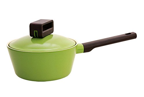 Neoflam New Products Aluminum Amethyst Coating Casting Powerful Non-stick One Handle Pot Cookware Pasta Pots Saucepan Green Width 18cm, 7inch