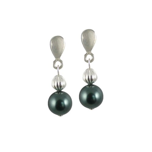 Solitaire Tahitian Pearl Pierced Earrings (Silver)