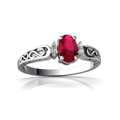 14Kt White Gold Lab Ruby And Diamond Oval Filigree Scroll Ring - Size 4.5